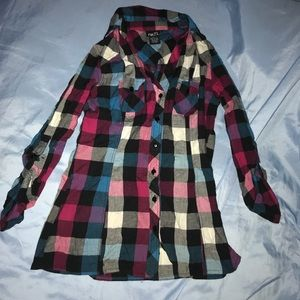 Rue 21 Multi Color Plaid Button Up Top